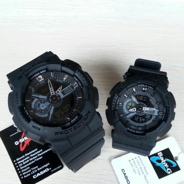 Jam Tangan Casio G-shock & Casio Baby-G Bga-110 Full Black