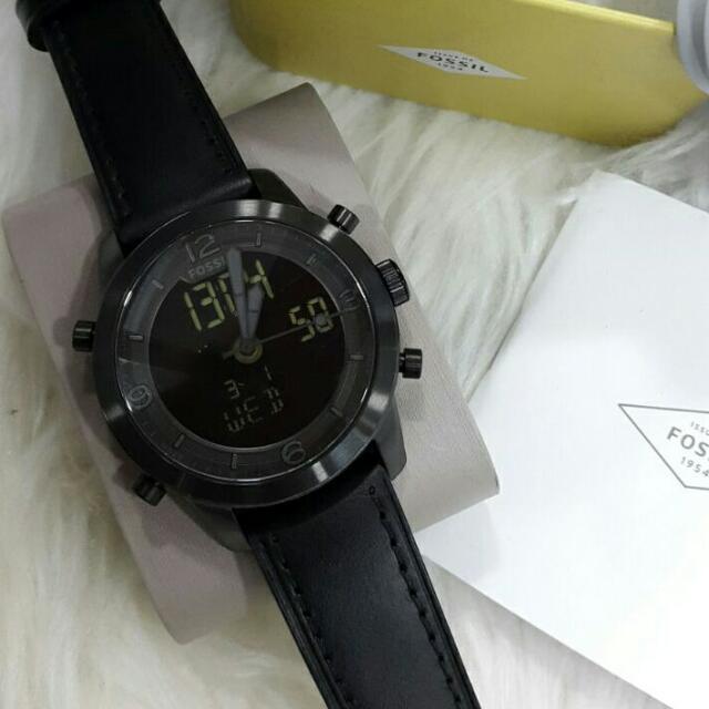 Jam Tangan Pria Fossil FS 5174 Dualtime Black Leather Original Murah