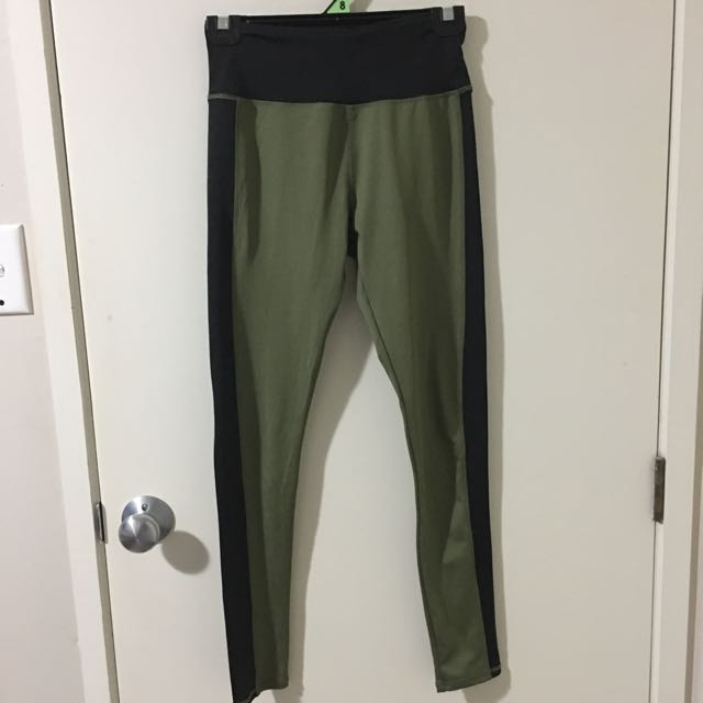 Khaki And Black Sports Leggings Size Small