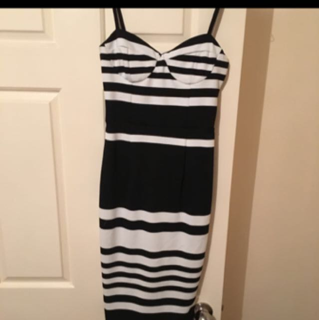 Kookai Black And White Stripe Dress