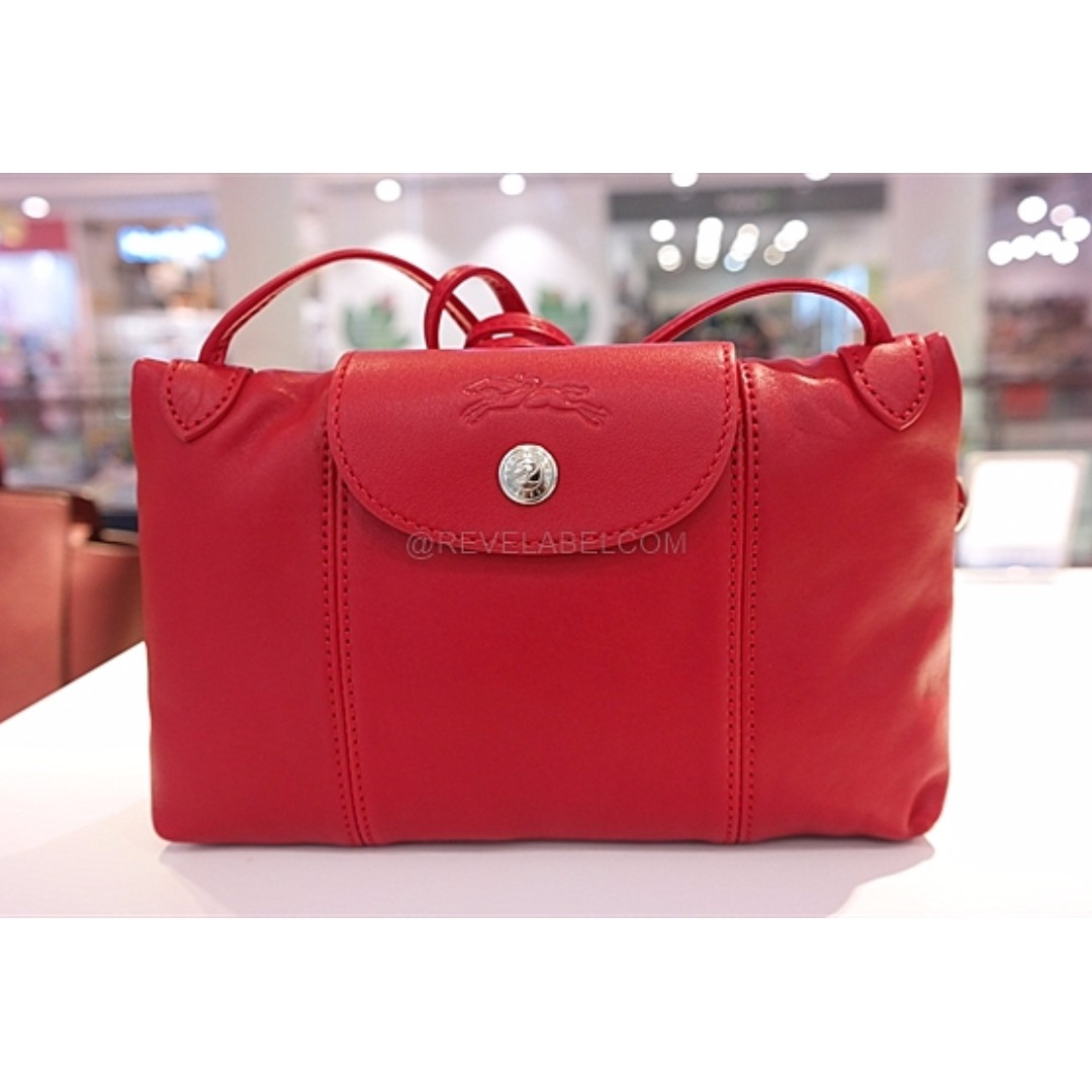 f95f3ffe3 Longchamp Le Pliage Cuir Crossbody Cherry Red 1061 737 045, Luxury, Bags &  Wallets on Carousell