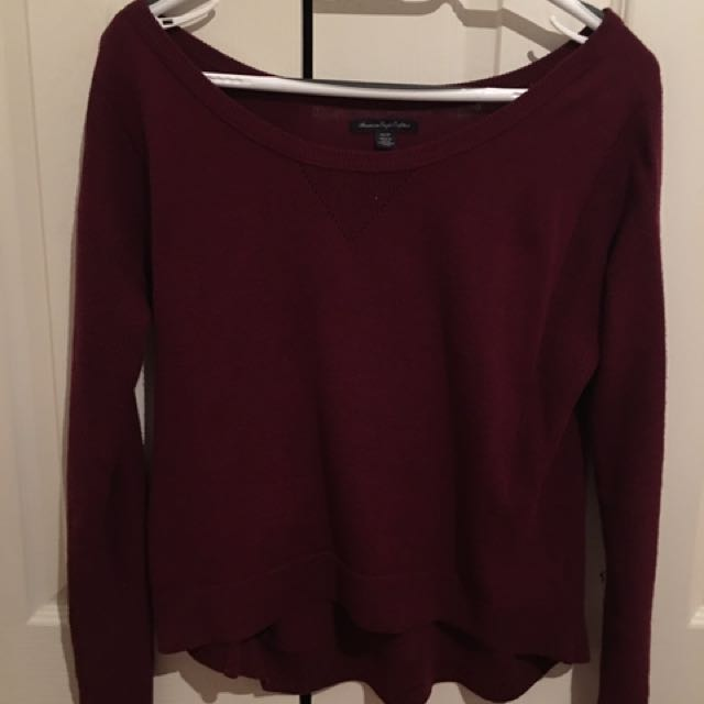 Maroon Wide Neck Sweater