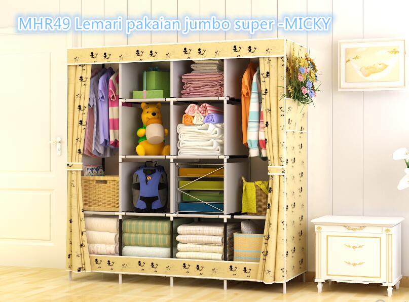 MHR49 Lemari pakaian jumbo super Multifunction Wardrobe MICKY