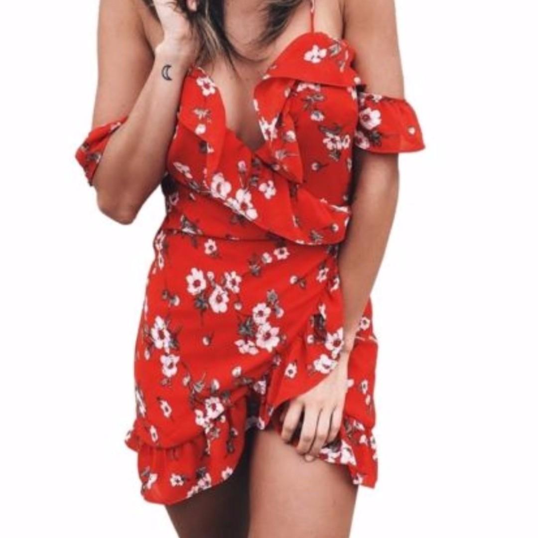 Off shoulder wrap dress