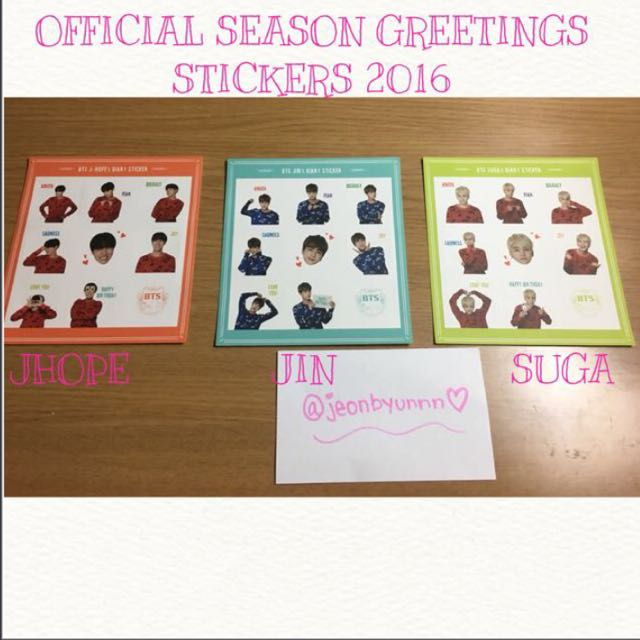 OFFICIAL BTS SEASON GREETING STICKERS