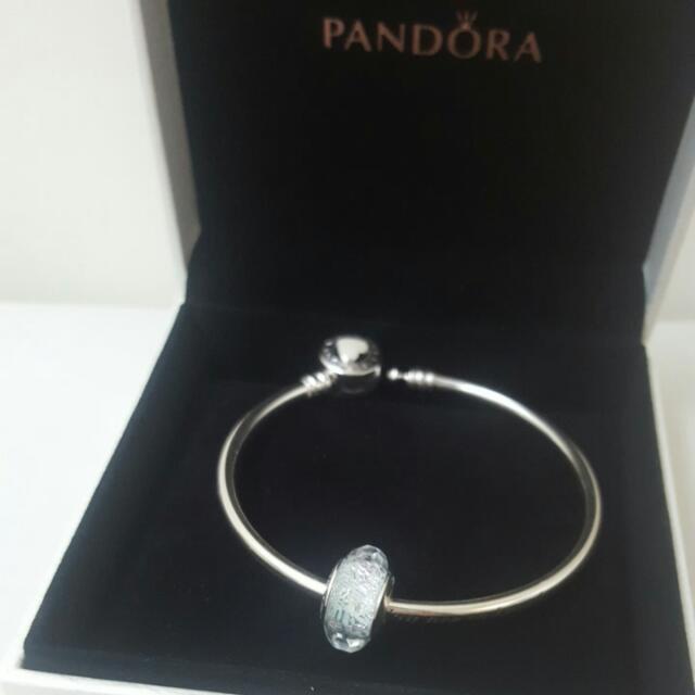 Pandora Mint Shimmer Glass Silver Charm