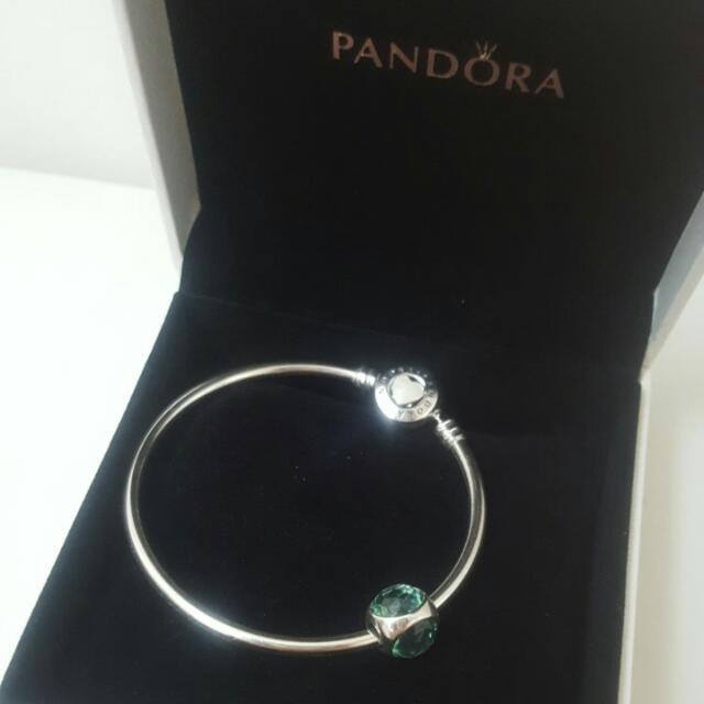 Pandora Radiant Droplet Silver Charm Icy Green