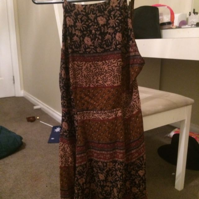 Patterned Backless Dress