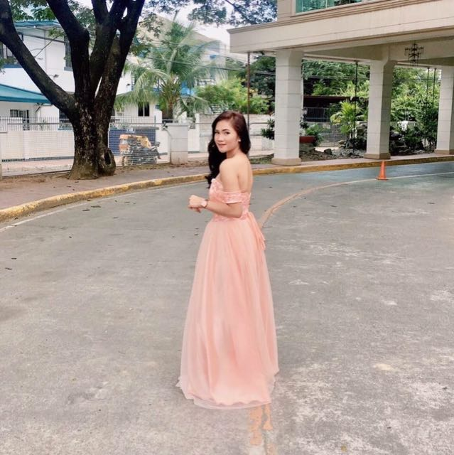 Peach Off Shoulder Gown