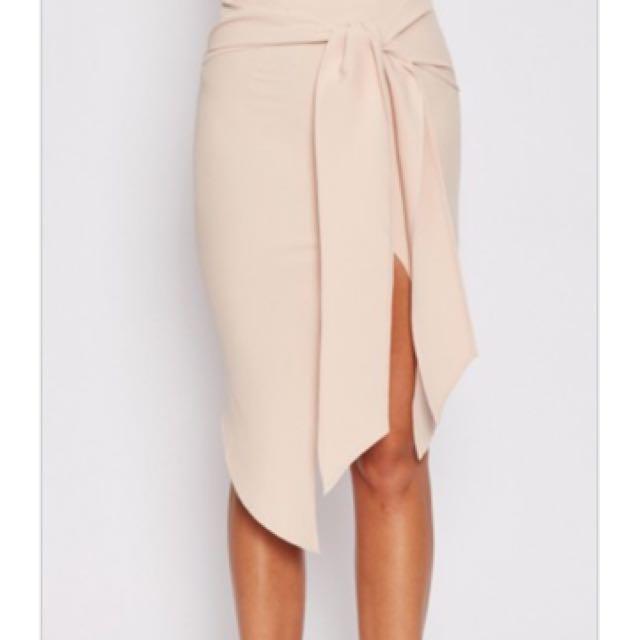 Beige Pencil Skirt