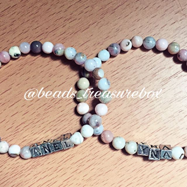 Peruvian Pink Opal Mother And Daughter Personalized Bracelet