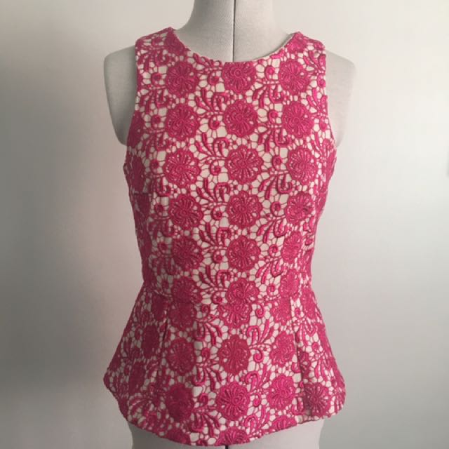 Pink And White Lace Peplum Top