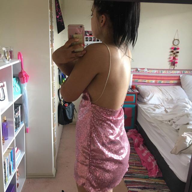 Pink Sequin Dress Chain Straps