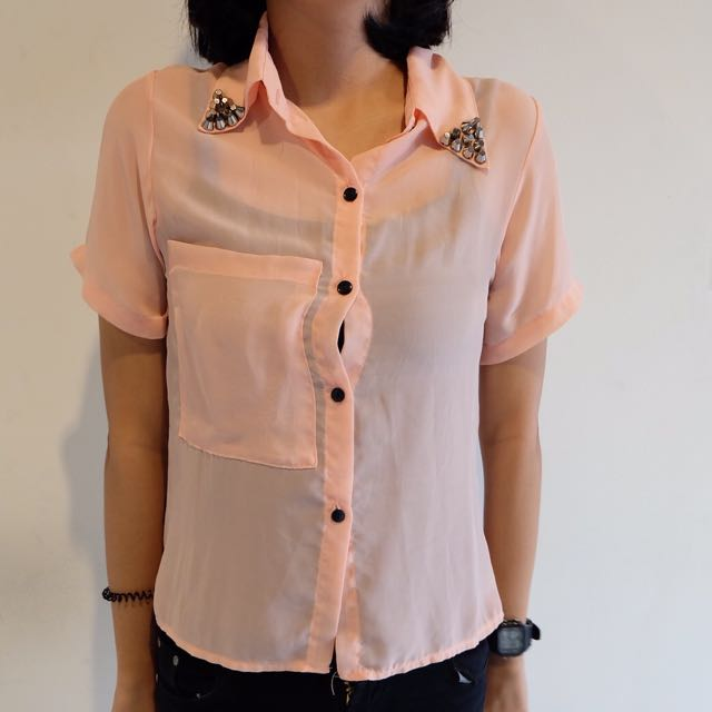 Pink Shirt With Stud Details