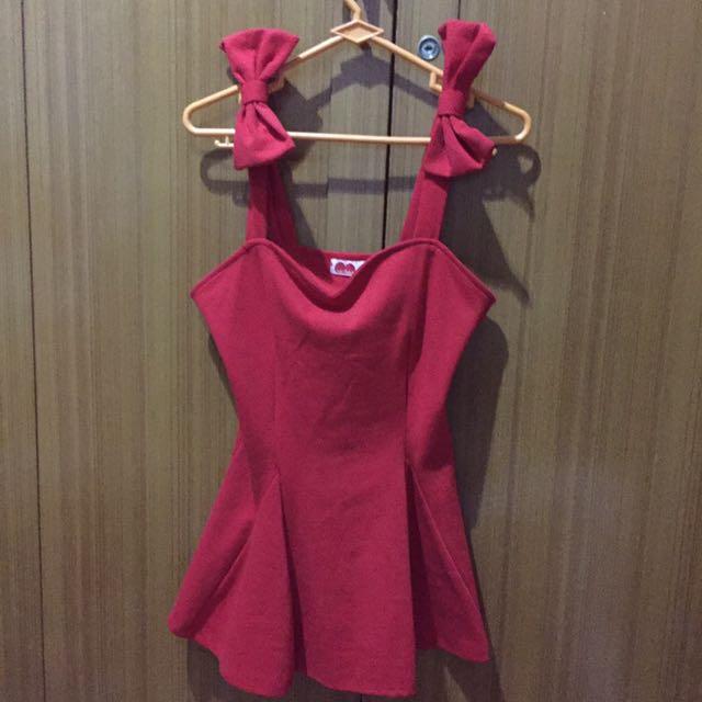 Ribbon Red Peplum