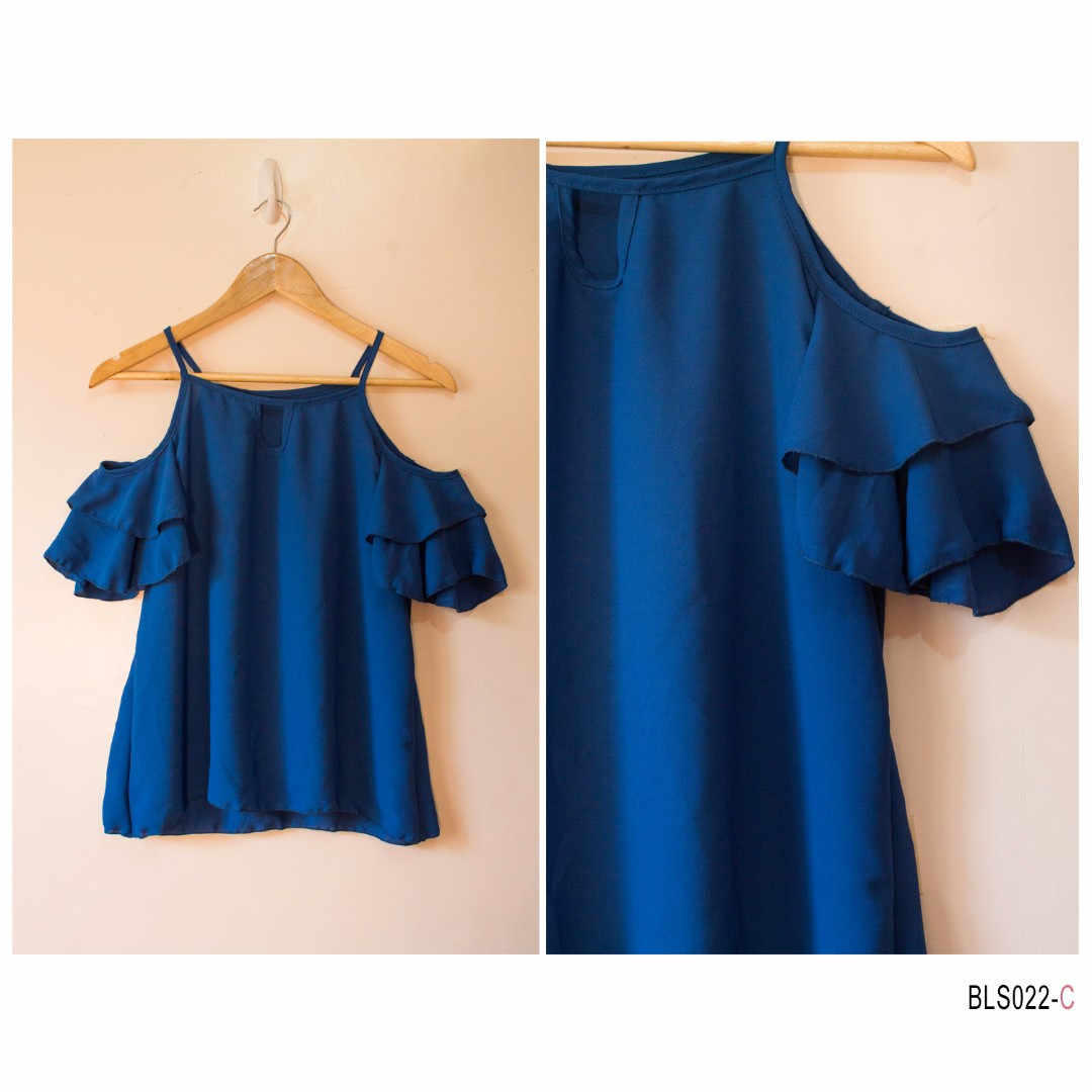 Ruffle Bare Shoulder- Dark Blue