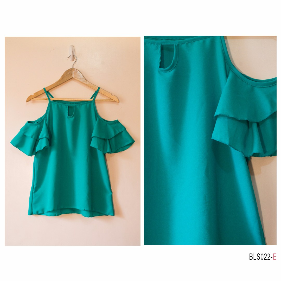 Ruffle Bare Shoulder- Turquoise