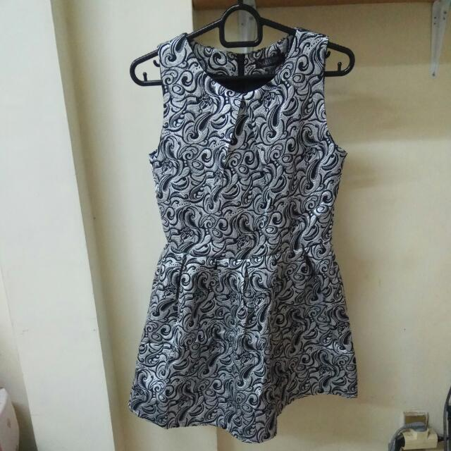 Silver Black Mini Dress