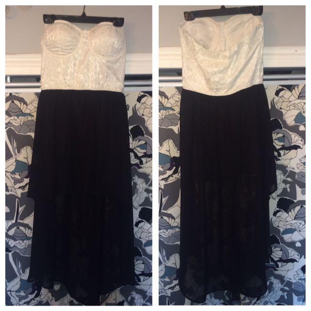 Strapless Black & White Dress