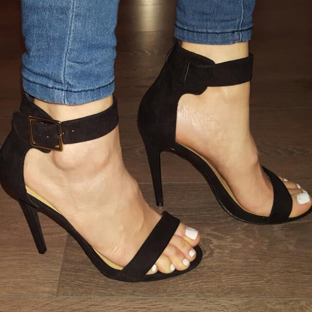 Strappy black sandals size 7.5