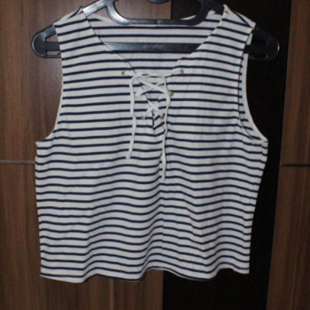 Stripe crop tank top