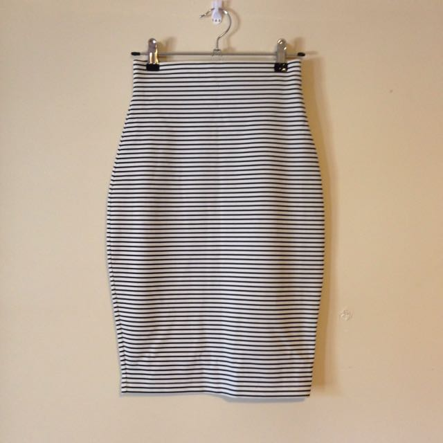 Striped High Waisted Pencil Skirt XS