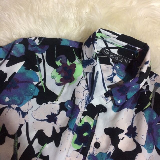 Topshop Petite Floral Cropped Shirt
