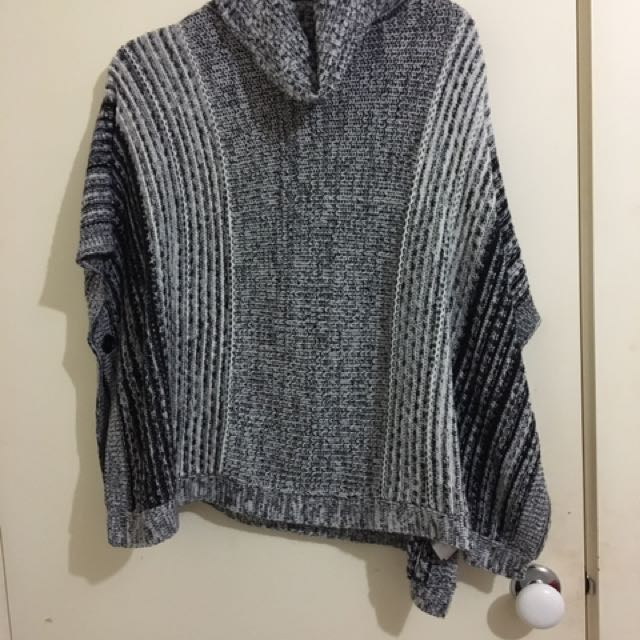 Turtle Neck Poncho With Sleeves