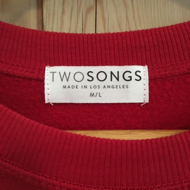 TWO SONGS Amour Sweatshirt in Cherry Red
