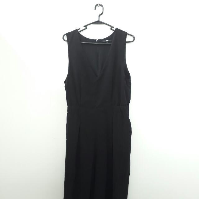 Uniqlo Black Culottes Jumpsuit