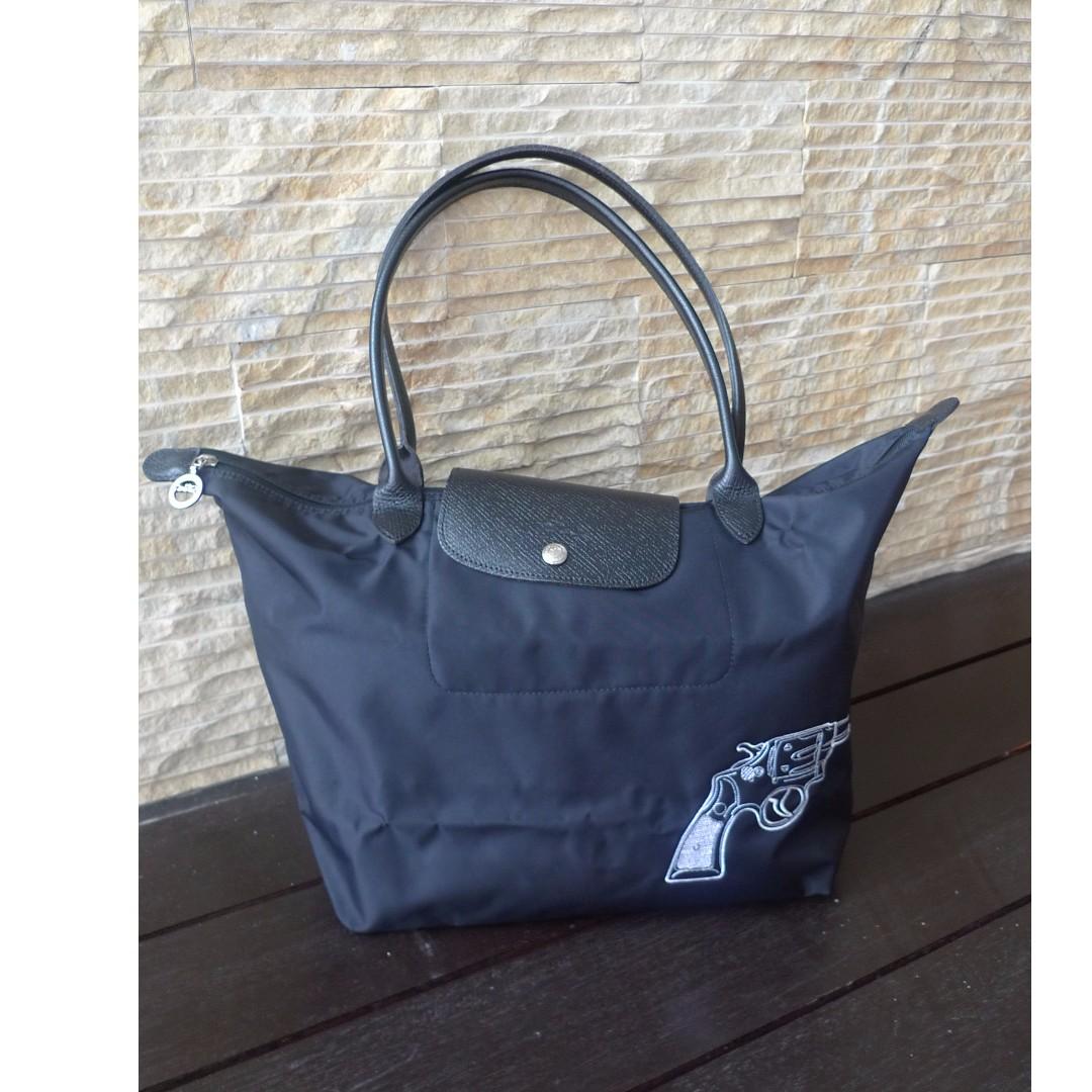 3b3201314a18 Used Longchamp Le Pliage Limited Edition Gun Bang Nylon Tote Bag ( BLACK )