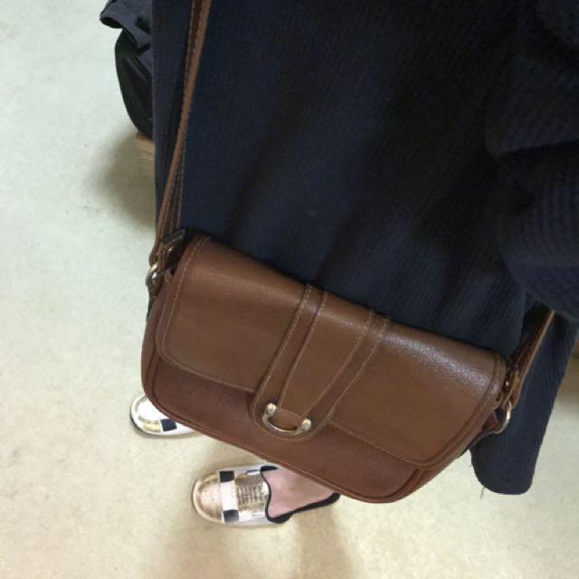 Vintage Cross Body Brown Leather Bag