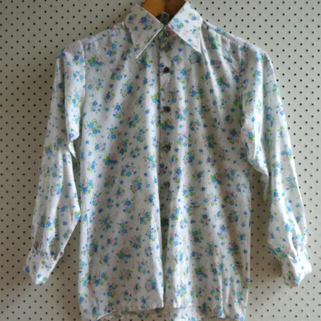 Vintage Floral Flower Button Up Shirt White Blue 1970s