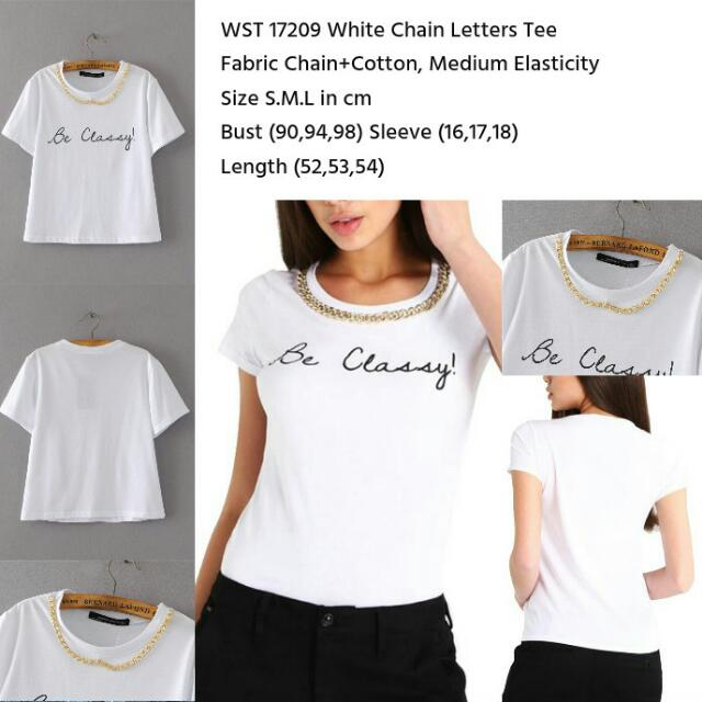 White Chain Letters Tee