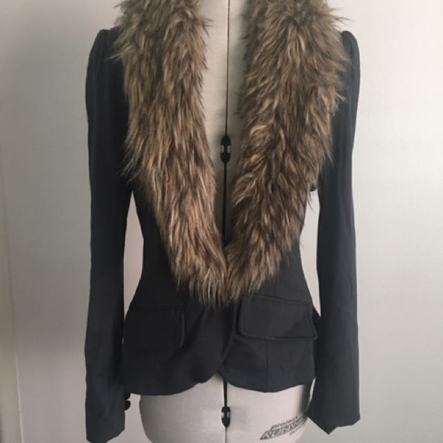 Winter Jacket Edwardian Style With Removable Faux Fur