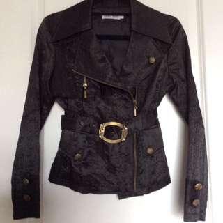 NICOLA BERTI Black Jacket w/ Zipper and Belt