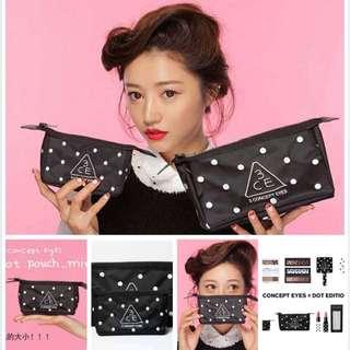 韓國3ce可愛點點化妝包手機包收納包盥洗包零錢包
