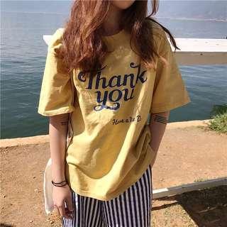 韓國字母t印花t短袖上衣