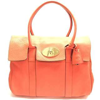 ed9452f3c2fe MULBERRY Classic Bayswater Medium 36cm Small Classic Grain CAPPUCINE ORANGE  Goatskin Leather Polished GOLD Hardware 36cm