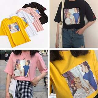 💕韓國字母t印花t短袖上衣💕 預購商品7-14天