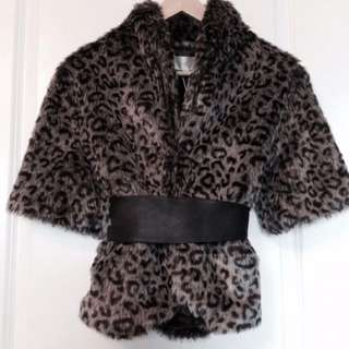 Leopard Print Faux Fur Coat (with Tag)