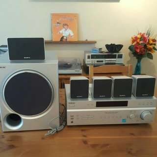 Sony Receiver With Sub Woofer And 5 Suround Sound Speakers