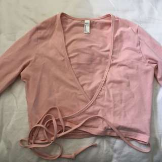 Pink American Apparel Wrap Top XS