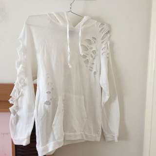 White Distressed Sweater