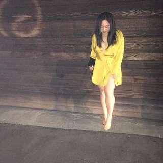 Chartreuse Yellow Longsleeve Dress