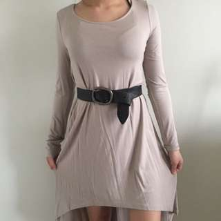 High-low Tan Dress (F21, Size medium)
