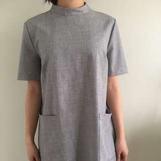 Grey T-shirt Turtleneck Dress
