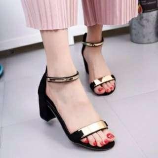 heels emas gild hitam black sepatu