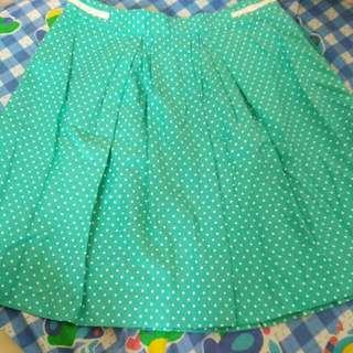 #MAYSALE# Wanko 湖水綠白波點半截裙