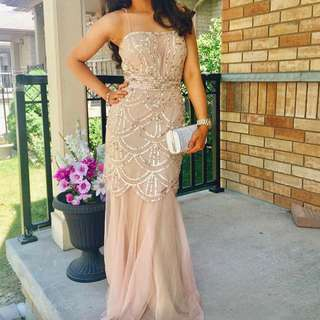 PROM DRESS: Champagne Sequenced Dress